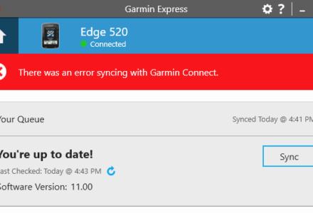 Garmin Connect Sync Failed Issue